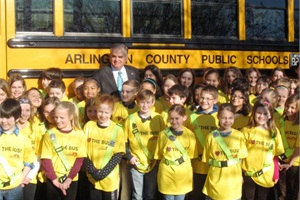"Outgoing U.S. Transportation Secretary Ray LaHood visited students at Tuckahoe Elementary School in Arlington, Va., on Tuesday in honor of ""Love the Bus"" month.Photo by Megan Benfatti"