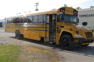 Tippecanoe School Corp. operates five Blue Bird Propane-Powered Vision school buses. The buses were purchased last year with the help of grants.