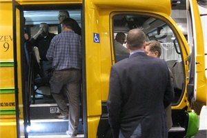 During Trans Tech Bus' unveiling of its new eTrans Type A all-electric school bus, attendees had an opportunity to board the bus.