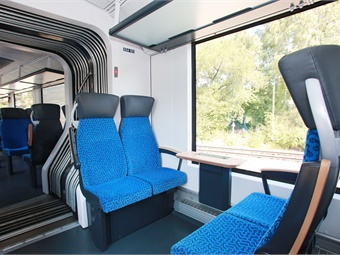 Interior of Alstom's Coradia iLint hydrogen fuel-cell train. Photo: Alstom
