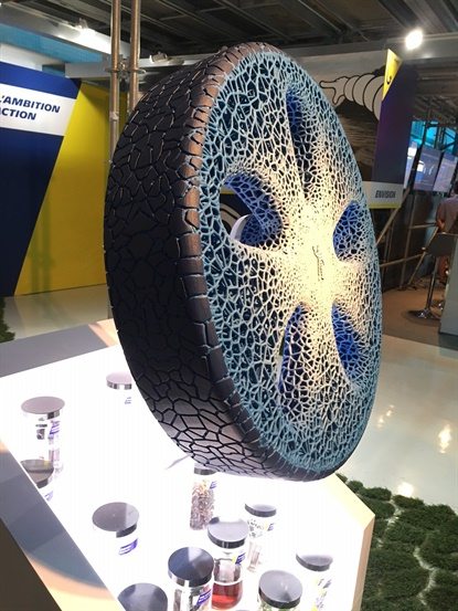 Michelin's Vision concept tire is like the Tweel in that it's both a wheel and tire, but it's also made of recycled materials, connected, and 'rechargeable' with new treads as needed.