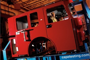 The Center for Advanced Product Evaluation's fire apparatus vehicle testing resulted in the successful development of RollTek, an accident injury mitigation system for the fire industry.