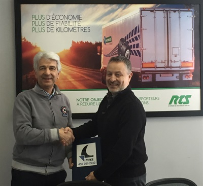 ITRS President and Owner Gilles Wauthy (right) welcomes Alberto Borella, president of RTS RingTread Systems, to the ITRS C2G repair facility network.