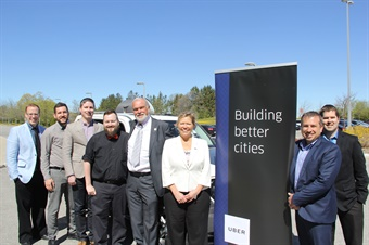 (Shown left to right) CAO Jason Reynar, Innisfil-Barrie Taxi Representative Tom Watson, Uber Ontario Public Policy Manager Chris Schafer, Uber Driver Jeff Wilton, Mayor Gord Wauchope, Deputy Mayor Lynn Dollin, Manager of Land Use Planning Tim Cane and Senior Policy Planner Paul Pentikainen.
