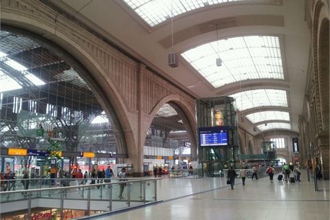 Inside of Leipzig Railway Station.