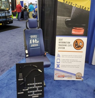 InterMotive Vehicle Controls has developed Safe-T-Seat, a Seat Information Tracking (SIT) system exclusively for Freedman Seating Co. The system is shown here on display at the recent BusCon 2019 show. Photo courtesy InterMotive Vehicle Controls