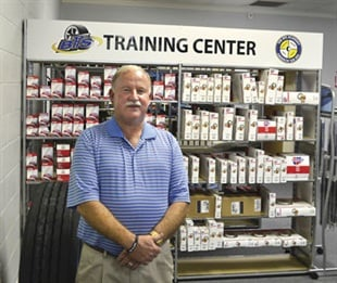 The retail portion of the company's training center features a sales counter, tire display and parts shelves. Benton says his vendors are supportive of the facility and also offer on-site training and tips. Black's Tire also uses the space for new employee orientation.