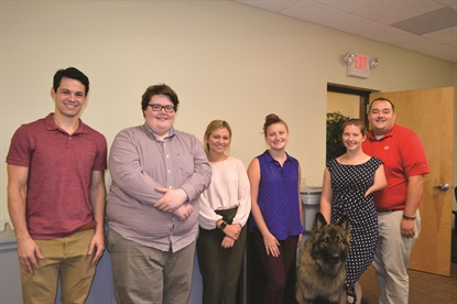 The company has beefed up its corporate internship program and expanded it to more departments in 2019. Among this summer's interns were, from left, Johnathan Shea; Andrew Decker; Krista Vogue, Theodosia Seasock, Stephanie Jallen (and her service dog, Parker), and Conor Durkin. During the previous school year and summer nine interns supported operations in five departments.