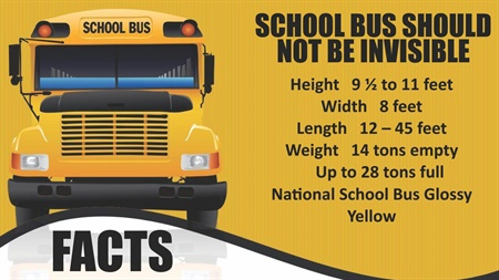 "In one of his slides, Huntley listed typical dimensions, weight ratings, and the ""National School Bus Glossy Yellow"" color specification of school buses."