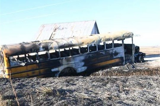 The National Transportation Safety Board has issued a preliminary report on the Dec. 12 school bus fire near Oakland, Iowa. Photos by Pottawattamie County Sheriff's Office