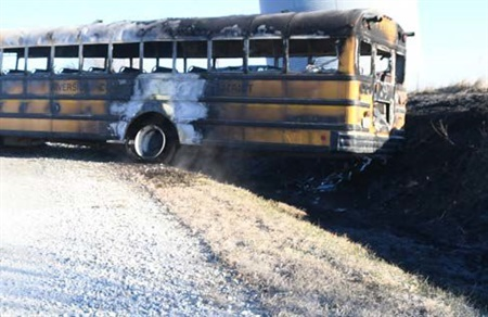 NTSB said that the bus became stuck in a ditch, and a fire broke out in the engine compartment as the driver tried to move the bus forward.