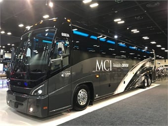 The latest MCI J4500 coach now offers best-in-class legroom, a larger lavatory and optional rear window that transforms the back-of-cabin passenger experience. Updated lighting throughout the interior includes an optional programmable color LED interior package with extensive trim choices to accommodate both operator and passenger branding. Photo: METRO Magazine