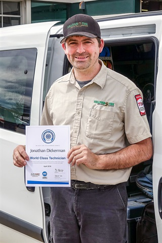 Jon Dickerman of Sullivan Tire has received the world class technician award for achieving 22 ASE certifications.