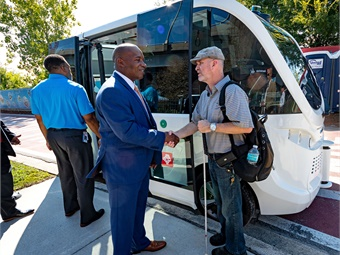 JTA recently welcomed members from the City of Jacksonville and Mayor's Disability Council and the Jacksonville Transportation Advisory Committee to experience the shuttle and to provide feedback on their first test rides.