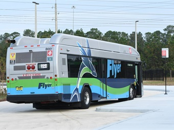 The Jacksonville Transportation Authority is readying the launch of new services, including a bus rapid transit line (vehicle shown), park-n-ride, and an on-demand shuttle. Photo: JTA