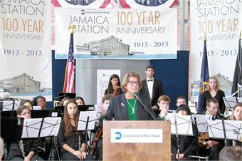 Long Island Rail Road President Helena E.Williams speaks during the celebration milestone on Wednesday, October 23, 2013. Photo credit: MTAPhotos