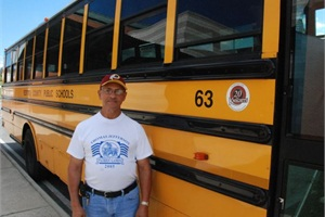 "James Bryant has driven school buses since 1959, which he says he's very proud of. ""I look at it as a great opportunity — I'm driving someone's child to school so that they can get an education."""