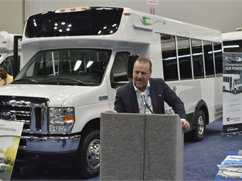 Micro Bird's James Mansell at the unveiling of the new D-Series at BusCon.