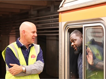 SEPTA General Manager Jeffrey D. Knueppel talks to an operator on SEPTA's Broad Street Line subway.