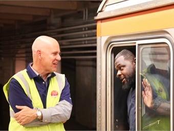 SEPTA General Manager Jeffrey D. Knueppel talks to an operator on SEPTA's Broad Street Line subway.SEPTA