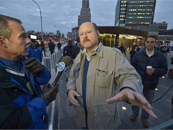 A 2012 photo shows Joe Lhota talking to reporters during his time as N.Y. MTA chairman and CEO. Photo: N.Y. MTA