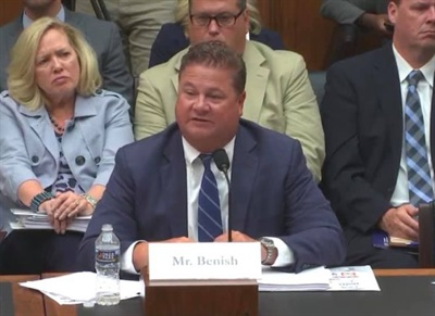 John Benish Jr., the president of the NSTA and president and chief operating officer of Cook-Illinois Corp., provided expert witness testimony on school bus safety to Congress. Photo courtesy NSTA
