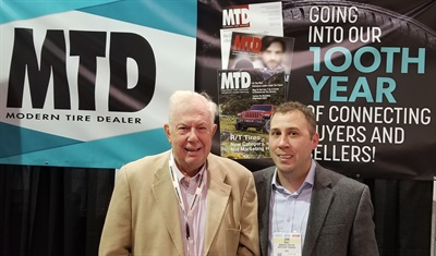 John Healy (on right) met with Saul Ludwig at the Specialty Equipment Market Association (SEMA) Show in Las Vegas last November. Ludwig wrote MTD's Your Marketplace column for almost 40 years before retiring in 2012.