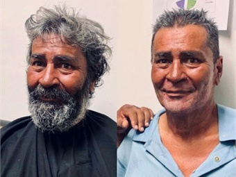 Crisis Outreach Officer Pfeifer took it upon himself to get Lopez (shown before and after) a free haircut, shave, and new clothes before he was reunited with his daughters.