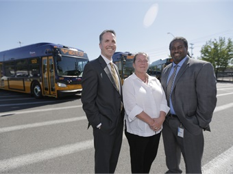 (From left) Chris Stoddart, sr. VP, engineering and customer service, at New Flyer; Lisa Gehrkee, regional administrator at the FTA; and Terry White, deputy GM at King County Metro.
