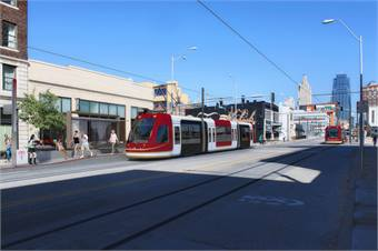 Rendering courtesy Kansas City Streetcar. Note: vehicle colors have not yet been determined.