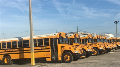 KIPP: Jacksonville Schools' 14 Blue Bird Vision Propane buses make up the first completely propane-fueled school bus fleet for a U.S. charter school, Blue Bird and ROUSH CleanTech said.