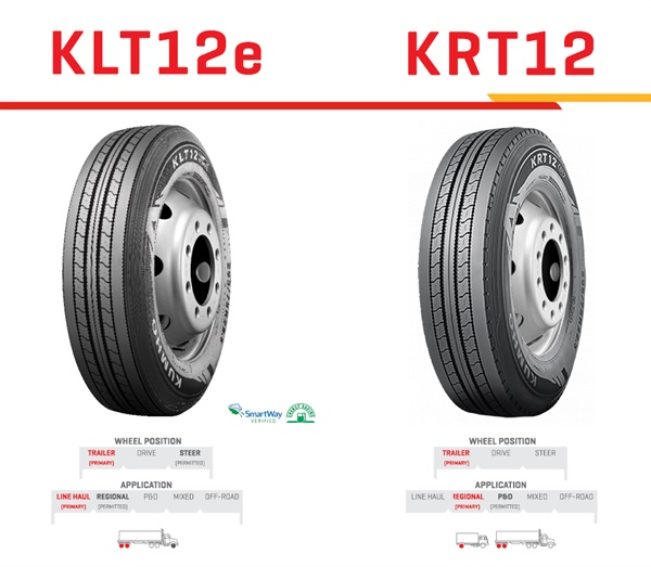 Kumho says both the KLT12e and KRT12 feature advanced innovative compounds that provide even wear characteristics and run cool for enhanced mileage.
