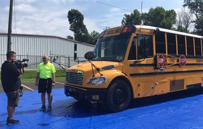 Kanawha County Schools held two demonstrations for students, parents, and the public to unveil a new lighting system and other features, and to dispense safety advice.
