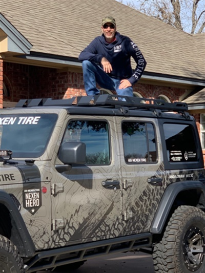 Retired Army Sgt. 1st Class and CEO of Fort Hood Area Habitat for Humanity received the eceived a custom 2019 Jeep Wrangler Rubicon from Nexen.