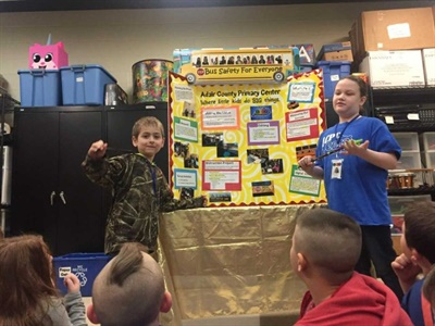 """Adair County (Ky.) Primary Center students researched, scripted, recorded, and edited """"Bus Safety for Everyone,"""" a video on school bus safety, and created a school bus safety curriculum to present with it."""