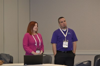Kim Rentner, solutions consultant team lead with Tyler Technologies (shown left) and Josh Rice, the transportation director at Klein (Texas) Independent School District, talked about rolling out new routing software at the district's transportation department.