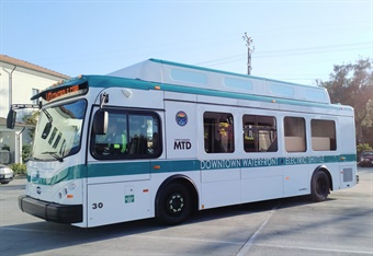 A fully electric pilot vehicle made the 130 mile drive from BYD's Lancaster facility to Santa Barbara MTD's bus yard with 30% of its battery remaining. Photo: Santa Barbara Metropolitan Transit District