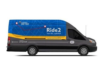 Commuters will be able to hail a shuttle operated by Chariot and Ford Smart Mobility to and from King County Metro's largest park-and-ride. Photo: King County Metro