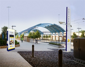 DART's digital kiosk platform (rendering shown) will provide local content, real-time information and connectivity. Image: DART