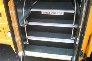 School bus entry steps are in an extremely demanding environment, facing constant physical and environmental abuse.