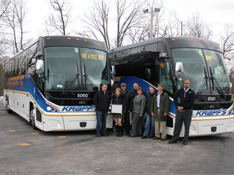 Gary Krapf and the Krapf's Coaches teams unveiled the new arrivals to employees and others during a mini-celebration at its West Chester, Pa. headquarters.
