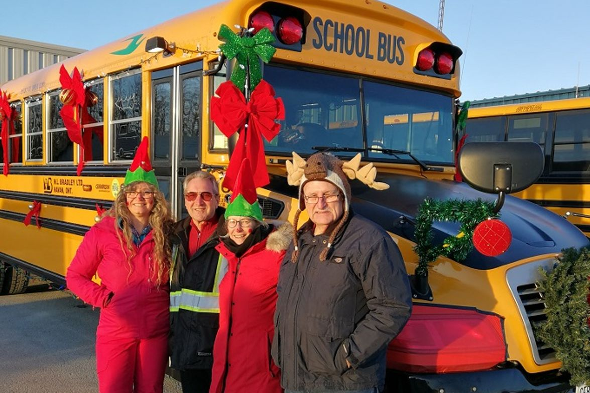 Transportation staff at school bus contractor M.L. Bradley in Navan, ON, decorated one of their...