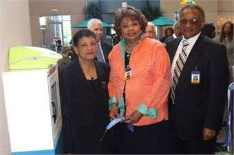 MARTA General Manager/CEO Dr. Beverly A. Scott and MARTA Board Members Mrs. JoAnn Godfrey McClinton and Mr. Harold Buckley, Sr. unveil the new Automated External Defibrillator (AED) units at MARTA.  Mrs. McClinton and Mr. Buckley represent DeKalb County.