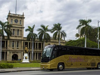 The deluxe gold buses are equipped with an on-board restroom and outlets at each seat. MCI