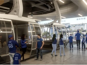 The aerial system would get fans from downtown to Dodger Stadium in about five minutes. Image: Aerial Rapid Transit Technologies LLC