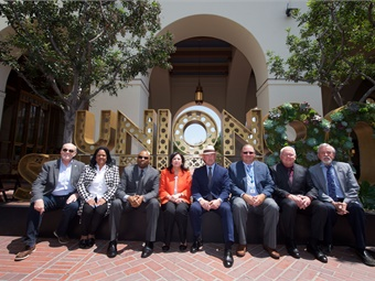 Los Angeles Metro CEO Phil Washington (third from left) was joined by elected officials and representatives from Metrolink, Amtrak, and Caltrans to mark the milestone. LA Metro