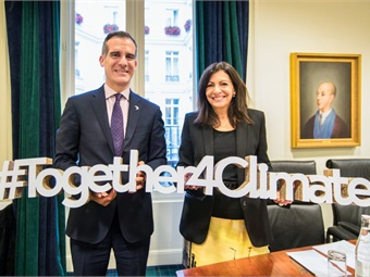 Los Angeles Mayor Eric Garcetti and Paris Mayor Anne Hidalgo were signatories of the C40 pledge. Photo: C40 Cities