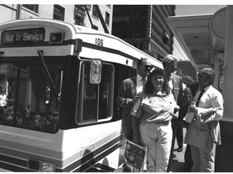 Metro Rail Blue Line opening day, July 14, 1990. Courtesy Metro Library and Archive.