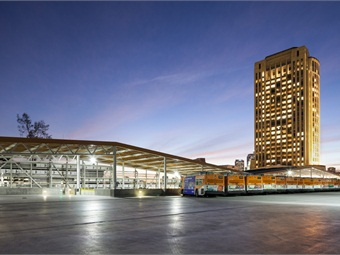 RNL provided sustainable design, architecture, interior design, landscape architecture, and lighting design on Metro Division 13 Bus Operations & Maintenance Facility in Downtown Los Angeles. Photo: Chang Kim-Maintenance Design Group for Metro