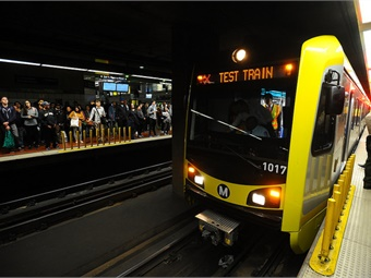 L.A. Metro's Expo Line VIP train to Santa Monica station on May 9, 2016.